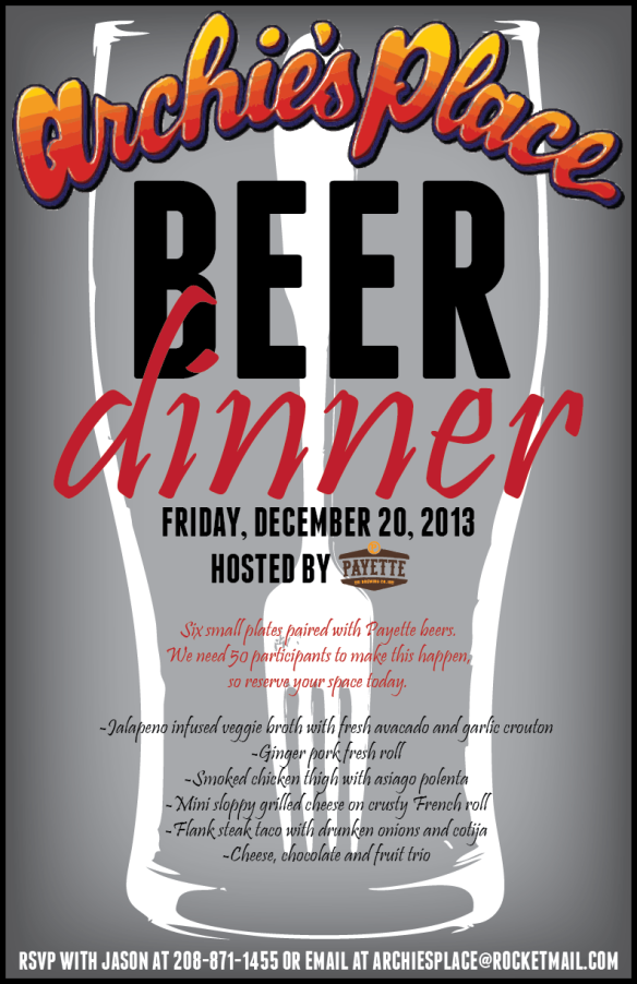 Archies Payette Beer Dinner Dec 2013